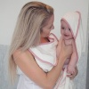 Cuddledry Original White and Pink Hands-Free Baby Bath Towel