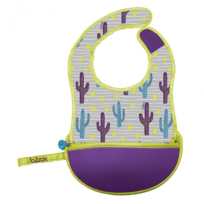 b.box Cactus Capers Purple Baby Travel Bib