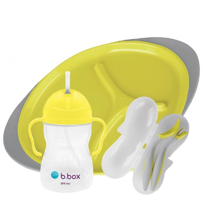 b.box Lemon Sherbet Yellow Baby Feeding Set