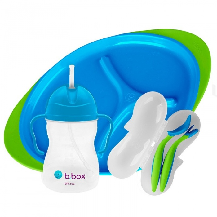b.box Ocean Breeze Blue Baby Feeding Set