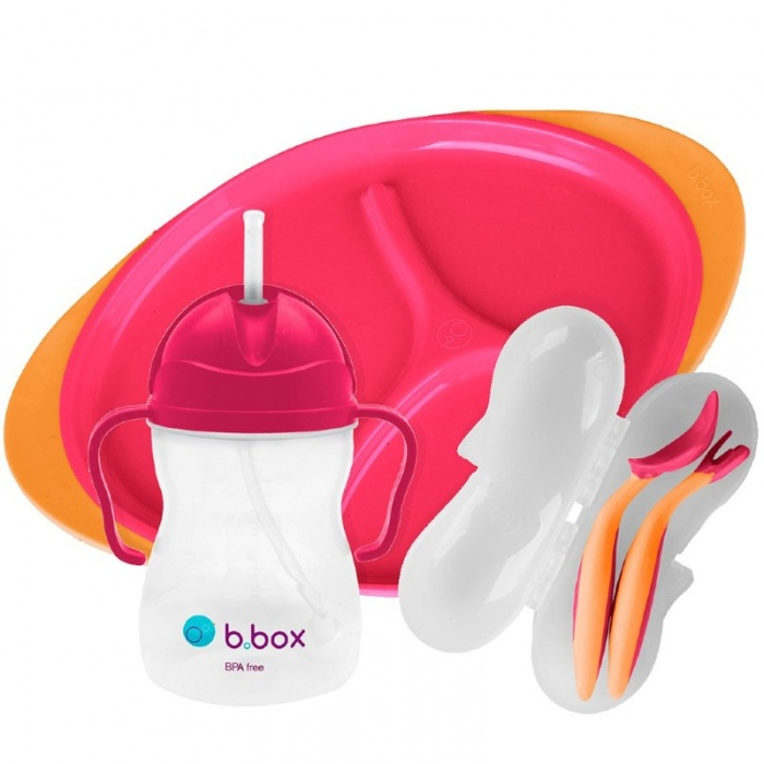 b.box Strawberry Shake Pink Baby Feeding Set