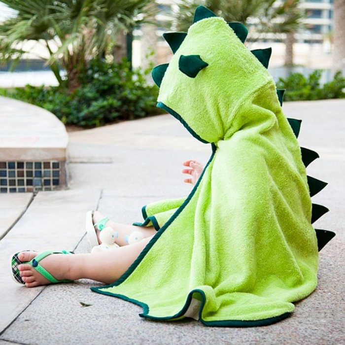 Cuddledry Cuddleroar Green Hooded Dinosaur Bath Towel