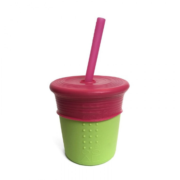 GoSili Silikids Lime/Berry Silicone Kids' Straw Cup