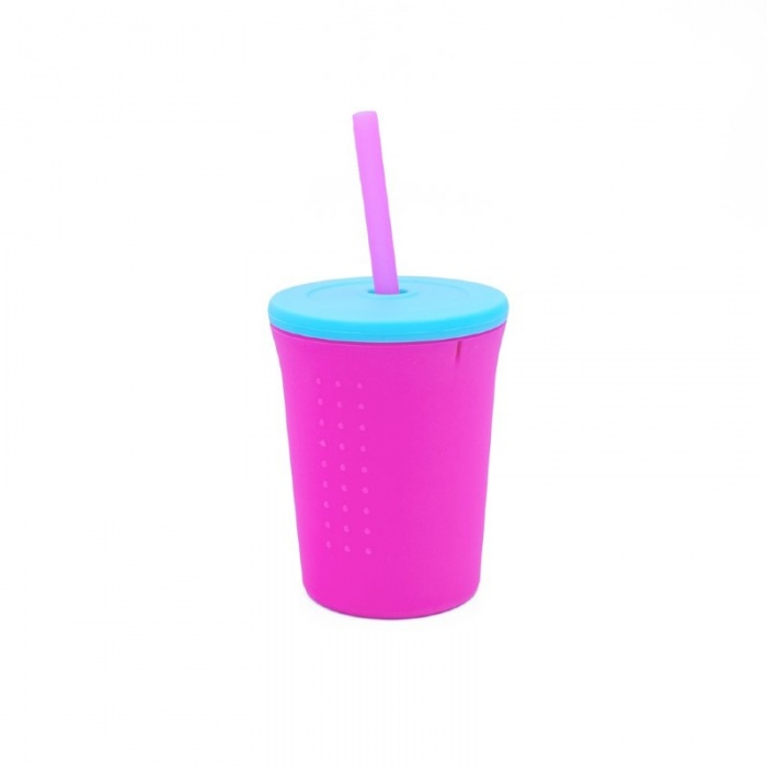 GoSili Silicone Berry/Sea Blue Large Kids' Straw Cup