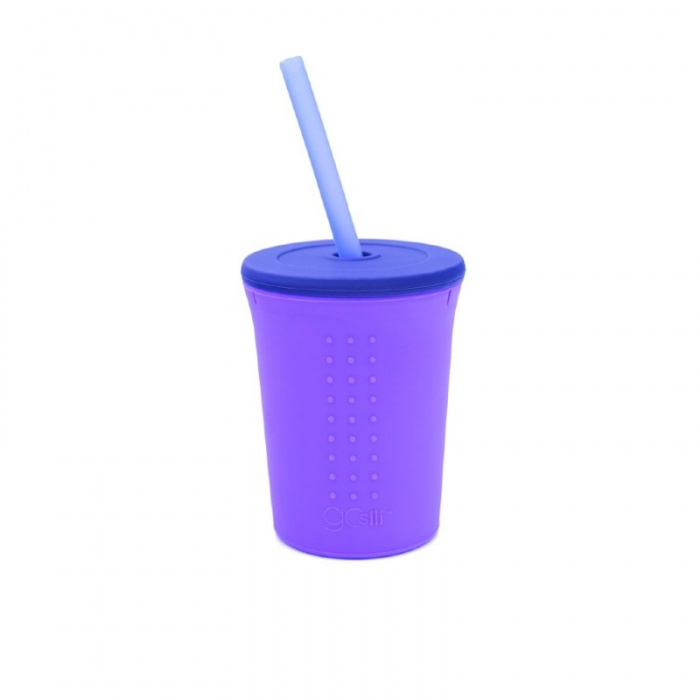 GoSili Silicone Purple/Navy Large Kids' Straw Cup