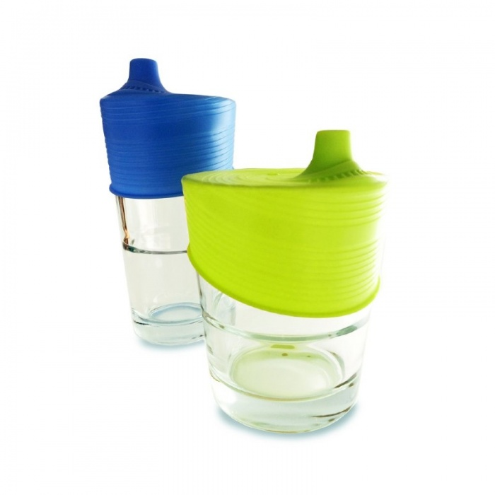 GoSili Silikids Blue/Lime Universal Silicone Sippy Tops (Pack of 2)