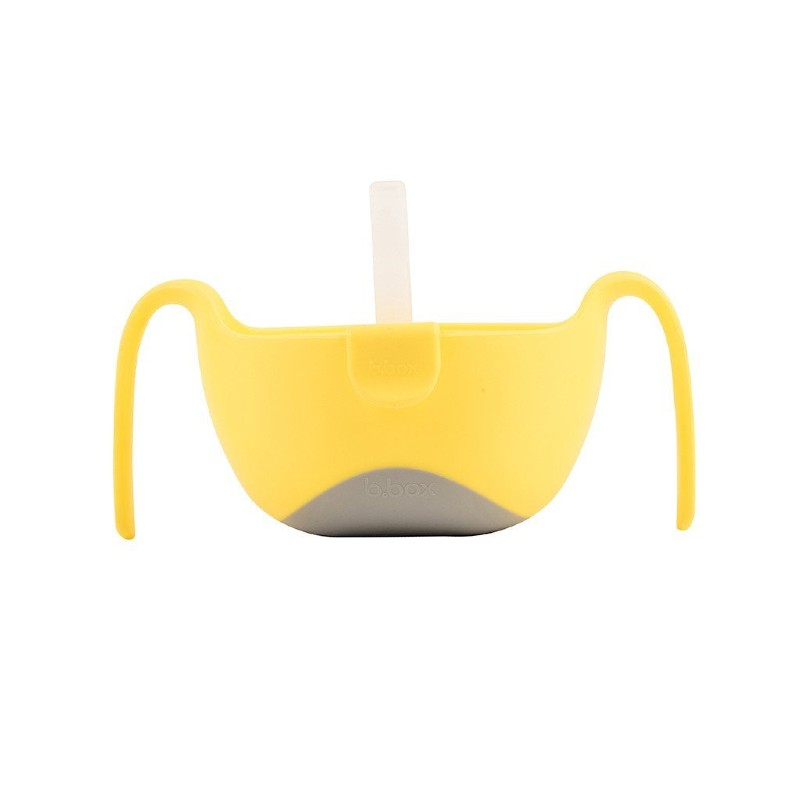 b.box Lemon Sherbet Yellow Extra Large Kids' Bowl and Straw