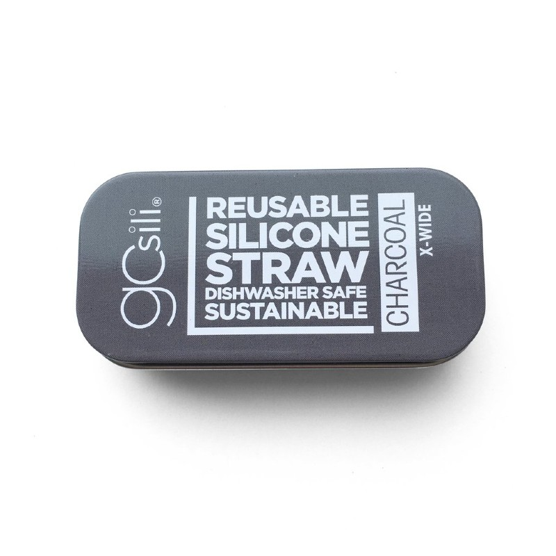 GoSili Extra Wide Charcoal Grey Silicone Straw with Tin Case
