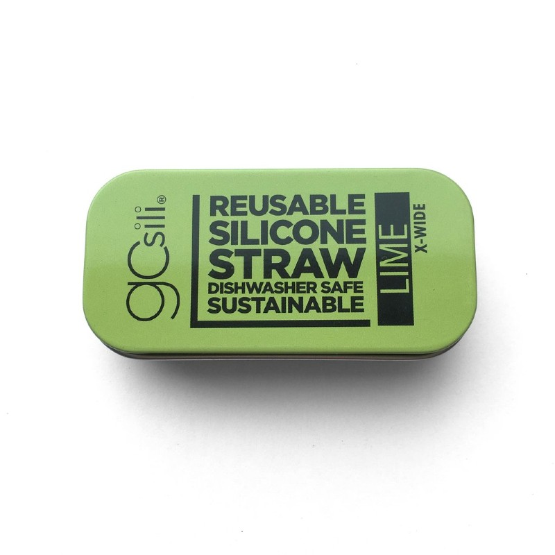 GoSili Extra Wide Lime Green Silicone Straw with Tin Case