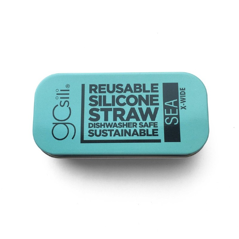 GoSili Extra Wide Sea Blue Silicone Straw with Tin Case