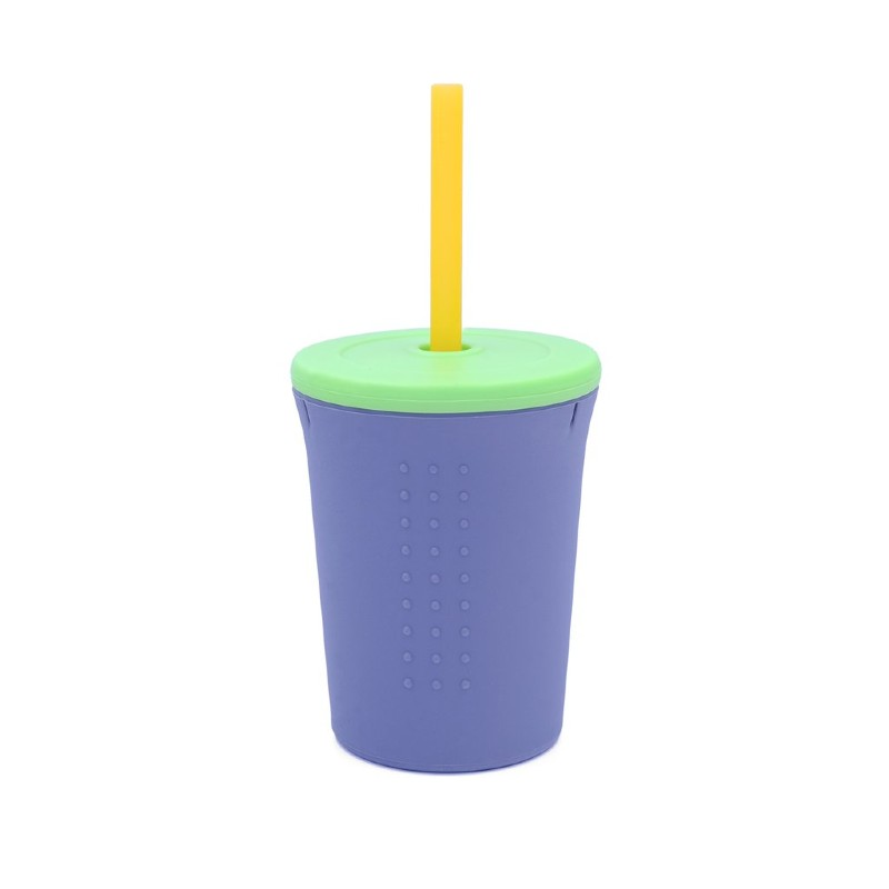 GoSili Silicone Grey/Lime Green Large Kids' Straw Cup
