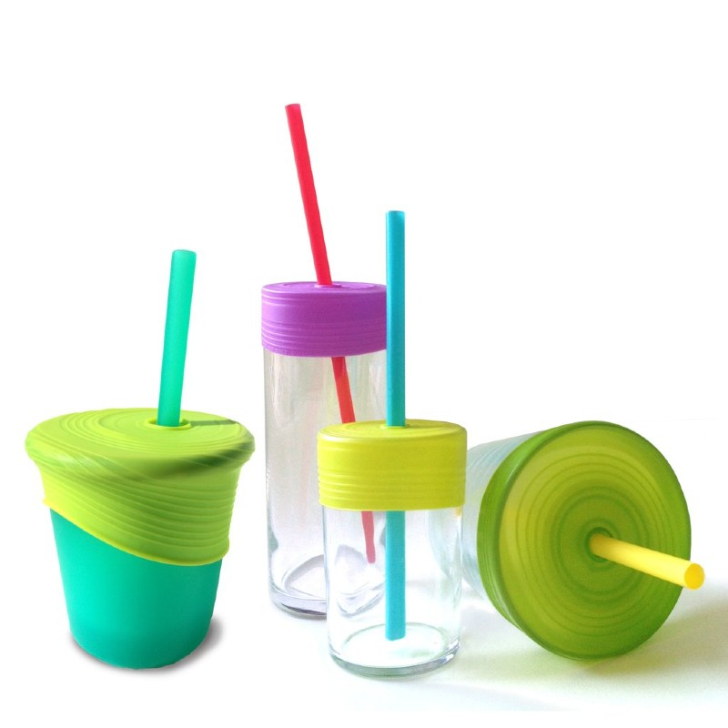 GoSili Silikids Lime/Green/Purple Universal Silicone Straw Tops (Pack of 3)