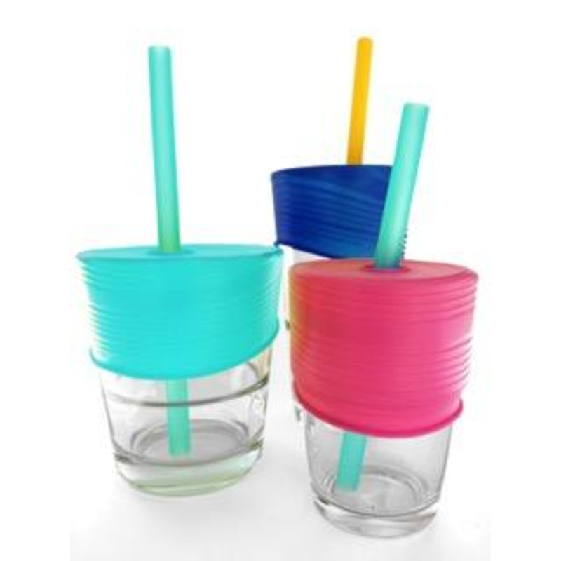 GoSili Silikids Sea/Berry/Cobalt Universal Silicone Straw Tops (Pack of 3)